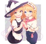 2girls :d alice_margatroid apron bangs black_hat black_skirt blonde_hair blue_eyes bow capelet commentary_request cowboy_shot eyebrows_visible_through_hair hat hat_bow headband holding_hands kirisame_marisa long_hair looking_at_viewer multiple_girls nva222 open_mouth puffy_short_sleeves puffy_sleeves red_string short_sleeves skirt skirt_set smile string touhou waist_apron white_apron white_bow witch_hat yellow_eyes