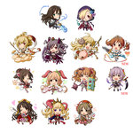 6+girls ;) alternate_costume anchira_(granblue_fantasy) anila_(granblue_fantasy) animal_ears bat be_(o-hoho) blonde_hair brown_hair bunny_ears cagliostro_(granblue_fantasy) candy cape cat_ears cat_paws chibi cloak cloud demon_horns doraf erun_(granblue_fantasy) flail futaba_anzu granblue_fantasy hair_over_one_eye heart highres hood hooded_cloak horns idolmaster idolmaster_cinderella_girls kanzaki_ranko koshimizu_sachiko leg_up lollipop mace maekawa_miku mimura_kanako morning_star moroboshi_kirari multiple_girls multiple_tails one_eye_closed paws ponytail purple_eyes purple_hair red_eyes scythe sheep sheep_horns shibuya_rin shield shimamura_uzuki shirasaka_koume smile snake staff stuffed_toy sword tail totoki_airi twintails v weapon