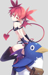 1girl bat_wings boots demon_tail demon_wings disgaea earrings etna flat_chest gloves highres jewelry keid looking_at_viewer pointy_ears prinny red_eyes red_hair short_hair skull_earrings tail thigh_boots thighhighs wings