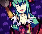 1girl :d ^_^ animal_print bat_print bat_wings breasts closed_eyes commentary demon_girl green_hair head_wings leotard long_hair morrigan_aensland open_mouth pantyhose petting pov print_legwear purple_background setz smile solo succubus vampire_(game) wings