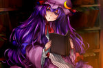 1girl book bookshelf bow crescent_moon hair_bow head_tilt holding holding_book light long_hair long_sleeves looking_at_viewer mob_cap moon open_book parted_lips patchouli_knowledge purple_eyes purple_hair ribbon shadow sitting sketch solo touhou wide_sleeves yukiji_(dokira)