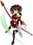 1girl aiming arrow artist_request bare_shoulders black_hair bow_(weapon) breasts detached_sleeves drawing_bow earrings frilled_shirt_collar frilled_skirt frills full_body green_eyes holding holding_arrow holding_bow_(weapon) holding_weapon jewelry large_breasts looking_at_viewer midriff miniskirt nabegama_(oshiro_project) navel official_art open_mouth oshiro_project oshiro_project_re outstretched_arm short_hair skirt solo thighhighs transparent_background weapon