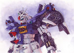artist_name commentary gundam gundam_0083 gundam_gp-01_zephyranthes hector_trunnec mecha no_humans traditional_media watercolor_(medium)