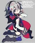 1girl ahoge black_cape black_nails black_skirt boots butt_crack cape commentary_request copyright_name detached_sleeves fingernails from_side grey_background grey_eyes grey_footwear grey_hair hair_between_eyes headphones highres hood hood_down hooded_cape kneeling long_sleeves looking_at_viewer looking_to_the_side microskirt mochizuki_kei multicolored multicolored_cape multicolored_clothes nail_polish purple_legwear red_cape short_hair skirt solo thighhighs wanda-chan_next_door_project watermark wrist_cuffs