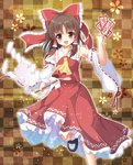 15_(tooka) 1girl :d bare_shoulders bow brown_eyes brown_hair checkered checkered_background detached_sleeves hair_bow hair_tubes hakurei_reimu haraegushi ofuda open_mouth smile solo touhou