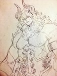 1boy asterios_(fate/grand_order) bare_shoulders black_sclera fate/grand_order fate_(series) graphite_(medium) highres horns kanemaki_thomas long_hair looking_at_viewer male_focus muscle solo traditional_media upper_body very_long_hair