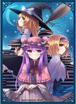 3girls alice_margatroid artist_name blonde_hair blush bon book bow braid broom capelet crescent crescent_moon dress frills hair_bow hair_ornament hairband hat hat_bow hat_ribbon kirisame_marisa lolita_hairband long_hair long_sleeves looking_at_viewer mob_cap moon multiple_girls necktie night patchouli_knowledge profile puffy_sleeves purple_eyes purple_hair red_eyes ribbon sash shirt short_hair short_sleeves side_braid single_braid sitting skirt skirt_set smile star striped striped_dress text_focus touhou vest white_shirt wide_sleeves witch_hat yellow_eyes