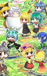 2017 6+girls >_< aki_minoriko aki_shizuha animal_ears antennae barefoot basket black_bow black_skirt black_vest blonde_hair blouse blue_dress blue_hair bow brown_dress brown_eyes brown_hat bucket bunny_ears butterfly_wings chasing chibi cirno closed_eyes commentary dated dress eternity_larva fleeing gapangman green_dress green_eyes green_kimono grey_hair hair_bow hair_ribbon hairband hat head_fins highres holding holding_hands in_bucket in_container japanese_clothes kimono kurodani_yamame leaf leaf_on_head letty_whiterock long_sleeves mallet mermaid monster_girl mouse mouse_ears mouse_tail multiple_girls nazrin no_nose open_mouth orange_dress outstretched_arms partially_submerged pink_eyes puffy_short_sleeves puffy_sleeves red_eyes red_ribbon ribbon rumia seiran_(touhou) sharp_teeth shirt short_hair short_sleeves short_twintails siblings signature skirt skirt_set snow snow_bunny tail teeth touhou twintails vest wakasagihime white_blouse white_hat white_shirt wide_sleeves wings wooden_bucket wriggle_nightbug