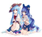 2girls artist_name aura bangs barefoot blue_bow blue_eyes blue_hair blue_skirt bow bracelet comb combing dated debt dress eyebrows_visible_through_hair food frilled_skirt frills fruit grey_hoodie hair_between_eyes hair_bow hands_in_hair hands_on_lap hat hinanawi_tenshi jewelry kneeling layered_dress leaf light_smile ling_mou long_hair looking_at_viewer multiple_girls open_mouth peach puffy_short_sleeves puffy_sleeves red_bow red_eyes short_sleeves simple_background single_tear sitting skirt sparkle touhou very_long_hair white_background yorigami_shion