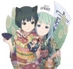2girls animal_ears black_eyes black_hair cat_ears chopsticks cup furi green_eyes green_hair hands in_container in_cup japanese_clothes kadomatsu kimono minigirl multiple_girls new_year original upper_body
