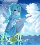 1girl aqua_eyes aqua_hair aqua_neckwear aqua_skirt blush boots closed_mouth cloud cloudy_sky day from_side full_body hatsune_miku holding holding_umbrella inhoya2000 light_smile long_hair looking_at_viewer looking_to_the_side miniskirt mountainous_horizon outdoors outstretched_hand pleated_skirt ripples rubber_boots school_uniform serafuku shirt short_sleeves skirt sky solo squatting transparent transparent_umbrella twintails umbrella very_long_hair vocaloid water white_shirt yellow_footwear