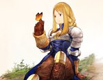 1girl absurdres agrias_oaks arm_behind_back arm_support armor blonde_hair braid breastplate brown_eyes brown_gloves bug butterfly closed_mouth final_fantasy final_fantasy_tactics gloves grass hand_up highres insect knee_pads leaf long_hair no_nose official_style plant shoulder_pads sidelocks single_braid sitting smile solo yashigaras