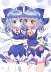 2girls :< ahoge alternate_breast_size blue_bow blue_eyes blue_hair blush bow breasts cirno dark_skin dual_persona eyebrows_visible_through_hair flower frown hair_bow hidden_star_in_four_seasons ice ice_wings large_breasts looking_at_another multiple_girls rimei short_hair smile sunflower tanned_cirno touhou wings