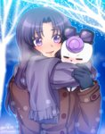 0417nao 1girl black_gloves blush coat eyewear_on_head gloves gurasan_(happinesscharge_precure!) happinesscharge_precure! hikawa_iona long_hair precure purple_eyes purple_hair scarf shared_scarf smile snow solo