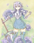1girl ahoge anemone_(flower) anemone_(flower_knight_girl) armor armored_dress blue_eyes boots flower flower_knight_girl hair_between_eyes hair_ornament hairclip hand_up highres holding holding_spear holding_weapon kittoma_(f152old) long_hair looking_at_viewer muted_color polearm purple_hair smile spear thighhighs weapon zettai_ryouiki