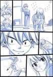 1boy 1girl barefoot bath_yukata black_border border comic covering_face embarrassed fairy_tail flying_teardrops hand_tattoo japanese_clothes kimono long_hair looking_back lucy_heartfilia mashima_hiro monochrome natsu_dragneel paintbrush silent_comic spiked_hair squatting tapping tapping_shoulder tears twintails wooden_floor yukata