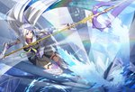 1girl abstract_background armor armored_dress black_skirt blue_background brynhildr_(fate) brynhildr_romantia cross_akiha fate/grand_order fate/prototype fate/prototype:_fragments_of_blue_and_silver fate_(series) full_body gloves greaves highres holding holding_spear holding_weapon long_hair looking_to_the_side polearm purple_eyes sailor_collar skirt solo spear thighhighs weapon white_hair white_sailor_collar zettai_ryouiki