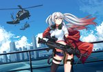 1girl absurdres aircraft ammunition_belt aqua_eyes bangs black_legwear blue_sky breasts choker cityscape cloud crop_top day floating_hair girls_frontline gloves gun hair_between_eyes hair_ornament hairclip hand_on_headset headset helicopter highres holding holding_gun holding_weapon jacket long_hair looking_away lwmmg_(girls_frontline) machine_gun midriff multicolored_hair ndtwofives off_shoulder outdoors red_jacket scenery shirt short_shorts shorts sidelocks silver_hair single_thighhigh skindentation sky solo standing star star_choker thigh_strap thighhighs thighs twintails twitter_username two-tone_hair weapon white_shirt wind wind_lift