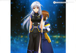 2girls absurdres back-to-back blue_eyes book brown_hair dress fingerless_gloves gloves hair_ribbon highres long_hair looking_back lyrical_nanoha mahou_shoujo_lyrical_nanoha mahou_shoujo_lyrical_nanoha_a's mahou_shoujo_lyrical_nanoha_the_movie_2nd_a's multiple_girls official_art okuda_yasuhiro red_eyes reinforce ribbon short_hair side_slit silver_hair smile tome_of_the_night_sky yagami_hayate