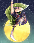 1boy :o adjusting_clothes adjusting_hat aiguillette armor bad_proportions cape etcelebi falling full_moon green_eyes grey_legwear hair_over_one_eye hat holding holding_sword holding_weapon hotarumaru japanese_armor kneehighs long_sleeves looking_at_viewer male_focus moon night night_sky one_eye_covered open_mouth outstretched_arm peaked_cap purple_legwear red_ribbon ribbon sheath shoulder_pads sky solo star_(sky) starry_sky sword touken_ranbu uniform unsheathed upside-down weapon white_hair