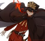 1boy bangs belt belt_buckle black_hair buckle burning cape_billowing cloak commentary_request dutch_angle fate/grand_order fate_(series) fire gloves gun hair_between_eyes handgun hat highres katana kumin_(6939359) long_sleeves looking_at_viewer military military_hat military_uniform oda_nobukatsu_(fate/grand_order) oda_uri open_mouth pants pistol ponytail red_eyes red_pants red_suit sheath sheathed simple_background solo standing sword uniform weapon white_background white_gloves