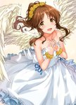 1girl :d absurdres angel_wings back_bow bangs bare_shoulders blue_ribbon blush bow bracelet brown_hair collarbone dandelion dress eyebrows_visible_through_hair falling_feathers feathered_wings feathers fingernails flower flower_bracelet frilled_dress frills from_above hands_together head_wreath highres idolmaster idolmaster_cinderella_girls idolmaster_cinderella_girls_starlight_stage jewelry lens_flare lips long_dress looking_at_viewer medium_hair open_mouth parted_bangs ponytail ribbon sidelocks sirurabbit sleeveless sleeveless_dress smile solo sparkle steepled_fingers takamori_aiko wavy_hair white_bow white_dress white_wings wings yellow_background yellow_eyes