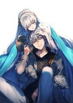 1boy 1girl anastasia_(fate/grand_order) black_shirt blue_cape blue_eyes cape command_spell commentary_request earrings fate/grand_order fate_(series) grey_hair grey_jacket grey_pants highres jacket jewelry kadoc_zemlupus kyouya_(mukuro238) long_hair long_sleeves pants parted_lips shirt simple_background sitting white_background white_hair yellow_eyes