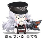1girl azur_lane bangs blush breasts chibi cleavage commentary_request crossed_bangs eyebrows_visible_through_hair fur_trim graf_zeppelin_(azur_lane) hair_between_eyes hat iron_cross jacket_on_shoulders kagura_ittou large_breasts long_hair lowres military military_hat military_uniform multicolored_hair peaked_cap silver_hair solo streaked_hair uniform very_long_hair