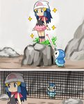 1girl animal_connection beanie blue_eyes blue_hair boots commentary_request fence grape-kun hat hikari_(pokemon) kemono_friends parody pink_boots piplup pokemoa pokemon pokemon_(creature) pokemon_(game) scarf skirt sparkle sweat