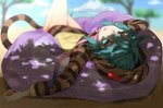 1girl bare_legs bean_bag_chair blue_eyes blue_hair commentary_request eyebrows_visible_through_hair glowing glowing_eyes highres hood hoodie isobee kemono_friends long_sleeves looking_at_viewer lying neck_ribbon on_back pink_neckwear print_hoodie ribbon shadow short_hair snake_print snake_tail solo tail tsuchinoko_(kemono_friends)