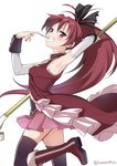 1girl arm_up armpits food hair_between_eyes holding holding_spear holding_weapon light_blush long_hair magical_girl mahou_shoujo_madoka_magica misu_kasumi pocky polearm ponytail red_eyes red_hair sakura_kyouko short_hair spear weapon
