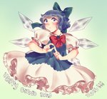 1girl blue_bow blue_eyes blue_hair blush bow cirno dress english_text frills hair_bow hand_gesture ice ice_wings looking_at_viewer open_mouth orz_(kagewaka) petticoat puffy_sleeves short_hair short_sleeves solo touhou wings