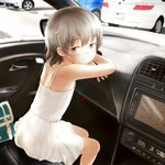 1girl bag bare_shoulders blush brown_eyes brown_hair car car_interior closed_mouth commentary_request dress eyebrows_visible_through_hair flat_chest from_behind ground_vehicle hatoba_tsugu hatoba_tsugu_(character) highres looking_at_viewer looking_back mayafufu mole mole_under_eye motor_vehicle short_hair shoulder_blades sitting sleeveless sleeveless_dress smile solo virtual_youtuber white_dress