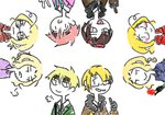 6+boys :p ahoge alternate_color america_(hetalia) axis_powers_hetalia blonde_hair blush brown_hair canada_(hetalia) dual_persona eyewear_on_head faux_traditional_media flower france_(hetalia) lowres male_focus middle_finger multiple_boys player_2 smile sunglasses thumbs_up tongue tongue_out united_kingdom_(hetalia) v