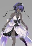 1girl bare_shoulders bracelet cosplay dark_skin dress euryale euryale_(cosplay) fate/hollow_ataraxia fate/prototype fate/prototype:_fragments_of_blue_and_silver fate_(series) flat_chest flying_sweatdrops grey_background hairband hassan_of_serenity_(fate) ifuji_shinsen jewelry lolita_hairband necklace purple_hair short_hair simple_background sleeveless sleeveless_dress solo white_dress