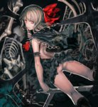 1girl alternate_costume arm_strap ascot ass backless_outfit black_dress blonde_hair bow capelet chain commentary_request darkness dress hair_bow highres looking_at_viewer looking_back organ_derwald rumia skeleton sleeveless sleeveless_dress smile solo touhou upskirt