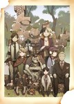 3boys 4girls animal bad_id bad_pixiv_id dog double_bun earrings everyone facial_hair formal frog hair_ornament hairclip hat highres jewelry monkey multicolored_hair multiple_arms multiple_boys multiple_girls necklace necktie original photo_(object) ruins stubble suit tashiro_hokekyo