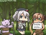 2girls akigumo_(kantai_collection) animalization beret brown_hair cat commentary_request dated epaulettes forest green_eyes grey_eyes grin hair_ribbon hamu_koutarou hat kantai_collection kashima_(kantai_collection) kerchief long_hair multiple_girls nature polearm ponytail ribbon sarong silver_hair sketchbook smile spear tama_(kantai_collection) tearing_up translated trembling very_long_hair wavy_hair weapon
