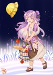 1girl :d absurdres alternate_costume apple azur_lane bottle bread carrying casual commentary_request contemporary food fruit full_body hair_bun hair_ribbon hat hat_removed headwear_removed highres long_hair looking_at_viewer mary_janes one_side_up open_mouth picnic_basket purple_eyes purple_hair ribbon shizi_suky shoes side_bun smile socks solo stuffed_animal stuffed_pegasus stuffed_toy stuffed_unicorn unicorn_(azur_lane) walking white_legwear wind