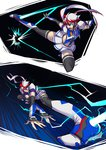 1girl action black_hair blue_eyes boots collage cropped_jacket detached_sleeves flying_kick foreshortening genderswap genderswap_(mtf) highres kicking multicolored_hair personification pleated_skirt red_hair ryuusei_(mark_ii) scarf sideburns skirt smokescreen_(transformers) solo_focus thigh_boots thighhighs transformers white_hair zettai_ryouiki