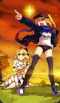 2girls ahoge armor artoria_pendragon_(all) baseball_cap blonde_hair blue_eyes border bow buruma craft_essence dual_persona fate/grand_order fate/stay_night fate/unlimited_codes fate_(series) glowing glowing_eyes gym_uniform hair_bow hand_on_hip hat ishida_akira jacket long_hair mash_kyrielight multiple_girls mysterious_heroine_x official_art open_clothes open_jacket peeking_out pointing pointing_forward ponytail rojiura_satsuki:_chapter_heroine_sanctuary saber saber_lily scarf star thighhighs