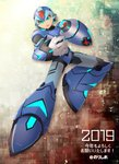 1boy 2019 alternate_eye_color android arm_cannon artist_name blue_eyes dated full_body gloves helmet leg_up male_focus no-rishio open_mouth robot robot_joints rockman rockman_x simple_background solo weapon white_gloves x_(rockman)