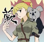1girl animal animal_in_clothes bag bangs belt blonde_hair blunt_bangs clinging collarbone commentary_request crossover eyebrows_visible_through_hair formal girls_und_panzer green_eyes hair_ribbon hand_up highres hunter_x_hunter kanji koala koala_(hunter_x_hunter) koala_forest_military_uniform long_hair looking_at_viewer necktie open_mouth ponytail ribbon short_sleeves suit takuzoutoitoi tied_hair wallaby_(girls_und_panzer)