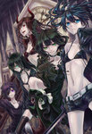 5girls absurdres bikini_top black_devil_girl black_gold_saw black_hair black_matagi black_rock_shooter black_rock_shooter_(character) blue_eyes choker crying dead_master dress glasses green_eyes grin headphones highres horns long_hair multiple_girls open_clothes pale_skin purple_eyes red_eyes ribbon short_shorts shorts smile sword tears weapon