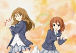 2girls brown_eyes brown_hair castanets dancing extra hirasawa_yui instrument k-on! long_hair loose_socks mitsuki_shion multiple_girls school_uniform short_hair socks tachibana_himeko un_tan