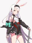 1girl absurdres animal_ears azur_lane bangs bare_shoulders blunt_bangs breasts bunny_ears contrapposto cowboy_shot dress eyebrows_behind_hair grey_background hairband highres honyaru_(nanairo39) jacket light_brown_eyes long_hair looking_at_viewer off_shoulder open_clothes open_jacket pleated_dress ribs shimakaze_(azur_lane) short_dress sidelocks simple_background small_breasts smile solo sword underboob very_long_hair weapon white_hair work_in_progress