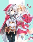 2girls animal_ears belt black_hair blonde_hair brown_gloves brown_hair cloak commentary_request fingerless_gloves fire_emblem fire_emblem_if fox_ears fox_tail gloves grey_hair hair_ornament hood hood_up hooded_cloak japanese_clothes kinu_(fire_emblem_if) long_sleeves multicolored_hair multiple_girls open_mouth pants parted_lips pouch red_eyes short_hair simple_background streaked_hair tail twitter_username velour_(fire_emblem_if) white_gloves wolf_ears wolf_tail yellow_eyes yuyu_(spika)