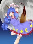 animal_ears arms_behind_head blood bloomers blue_hair bunny_ears dress ear_clip full_moon hachi_(hrhr_1983) long_hair low-tied_long_hair mallet moon ponytail red_eyes seiran_(touhou) smile touhou underwear
