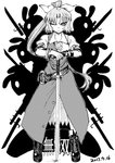 1girl animal_ears ankle_boots bayonet belt blackcat_(pixiv) boots bow bracelet bunny bunny_ears collared_shirt commentary_request cracked_floor cross-laced_footwear dated dress frown greyscale gun hair_bow highres jewelry lace-up_boots long_dress long_hair looking_at_viewer monochrome one_eye_closed pose rifle serious shadow shirt short_sleeves silhouette sword touhou translation_request v-shaped_eyebrows very_long_hair watatsuki_no_yorihime weapon
