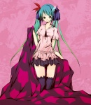 1girl aqua_eyes aqua_hair bad_id bad_pixiv_id balordo gradient_hair green_hair hair_ribbon hatsune_miku highres long_hair multicolored_hair ribbon skirt smile solo thighhighs twintails very_long_hair vocaloid world_is_mine_(vocaloid) zettai_ryouiki